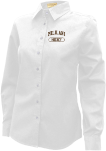 Women's Mililani High School Trojans Long Sleeve Button Up Shirts